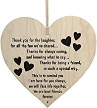 Meijiafei Best Friends Forever Wooden Hanging Heart Friendship Love Gift - Thank You Sign