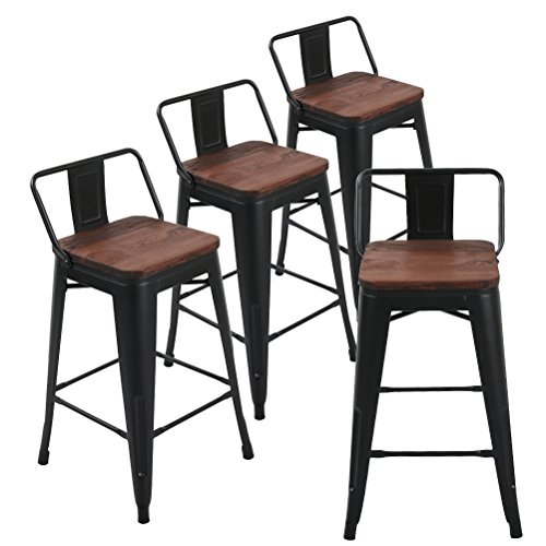 Andeworld Metal Bar Stools Set of 4 with Backs Counter Height Barstools Industrial Style (26 Inch, Rusty with Wooden Seats)