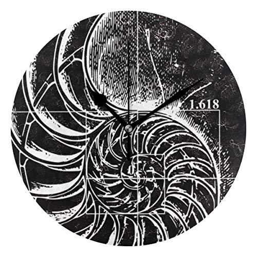 Runde Wanduhr mit Nautilus Shell Fibonacci Print - Leise, Nicht tickende Uhr, dekorativ für das Wohnzimmer im Büro