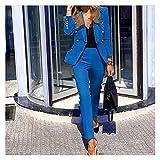 YZRDY Chaqueta Chaqueta Blazer Traje Señoras Color Sólido Dos Piezas Otoño Invierno Oficina Ropa Elegante Traje Chaqueta Pantalones (Color : Blue, Size : L.)