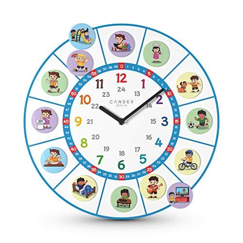 Cander Berlin MNU 11040 S Kinderwanduhr lautlos 40 cm geräuschlos 24 Magnet-Bilder Lernzifferblatt Kinderzimmer farbenfroh Tagesablauf - Ablesen der Uhrzeit Lernen