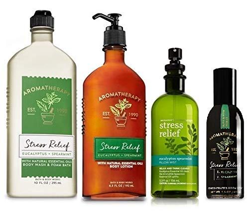 Bath & Body Works Aromatherapy Gift Set Eucalyptus Spearmint Body Lotion ~ Body Wash & Foam Bath ~ Pillow Mist & Concentrated Room Spray