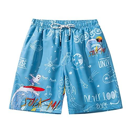GDSSX Pantalones de Playa para Hombres Secado rápido Pulseras Sueltas Tallas de natación Casual y cómodo Trajes De Baño (Color : Blue1, Size : XL)