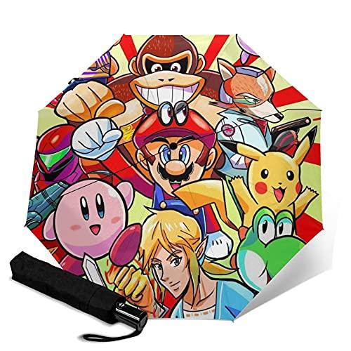Super Smash Bros Mario Legend of Zelda Kirby Pik-achu Paraguas plegable automático de cierre abierto ligero compacto portátil Sun Travel paraguas triple unisex