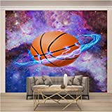 ZSZHI 3D Wall Mural Wallpaper - Cool Sports Basketball Creativity Pattern - Removable Wall Mural Self Adhesive Large Wallpaper Non-Woven Home Decor for Home Bedroom Indoor and TV Background