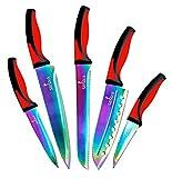 Küchen Messer Set | 5 Elegante Messer, Küchenchef Qualität, Premium SS Klingen mit ergonomischen Griffen, Rainbow Effekte mit Titan Beschichtung, Ummantelung, Perfekt für Zuhause & Pro (Rot-Schwarz)