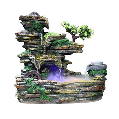 Fuente de agua para cascada, rocosa, fuente de escritorio, paisaje, práctico humidificador para el hogar, belleza, paisaje, decoración del hogar, decoración (color: B, tamaño: grande)