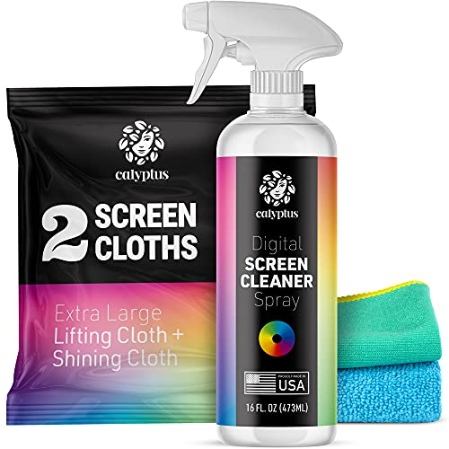 Calyptus Screen Cleaner Digital Kit | Streak Free Spray + Pixel Shining Cloths | Plant Based Power | USA Made | iPad, TV, Tablet, Large Monitor Cleaning, 16 Ounces