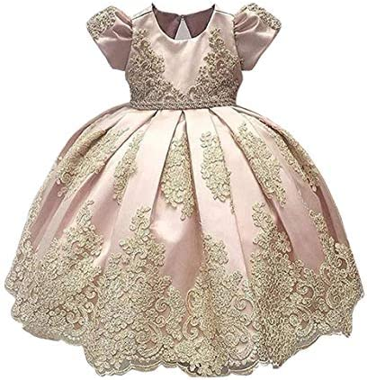 ABAO SISTER Baby Girls Flower Girl Dress Infant Princess Ball Gown Birthday Party Dresses Pink product image