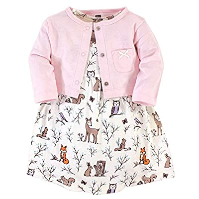 Hudson Baby Girls' Cotton Dress and Cardigan Set, Enchanted Forest, 0-3 Months by Hudson Baby