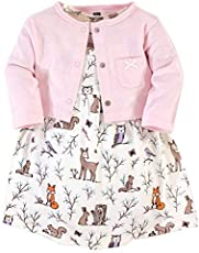 Hudson Baby Girls' Cotton Dress and Cardigan Set, Enchanted Forest, 0-3 Months