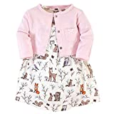 Hudson Baby Girls' Cotton Dress and Cardigan Set, Enchanted Forest, 6-9 Months
