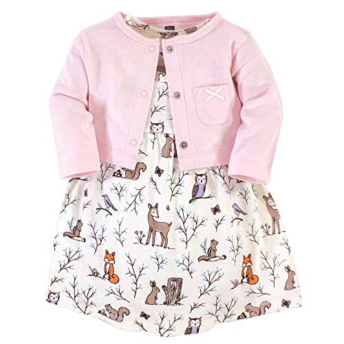 Hudson Baby Girls' Cotton Dress and Cardigan Set, Enchanted Forest, 12-18 Months