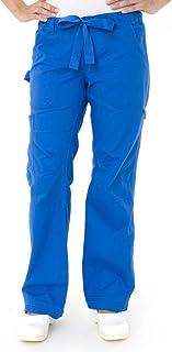 KOI Women`s Lindsey Ultra Comfortable Cargo Style Scrub Pants (Petite Sizes) (3XLP, Fuchsia)