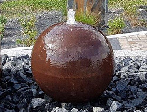 garten-wohnambiente Kugelbrunnen 50 cm Cortenstahl Roststahl Komplettset Kugel Wasserspiel