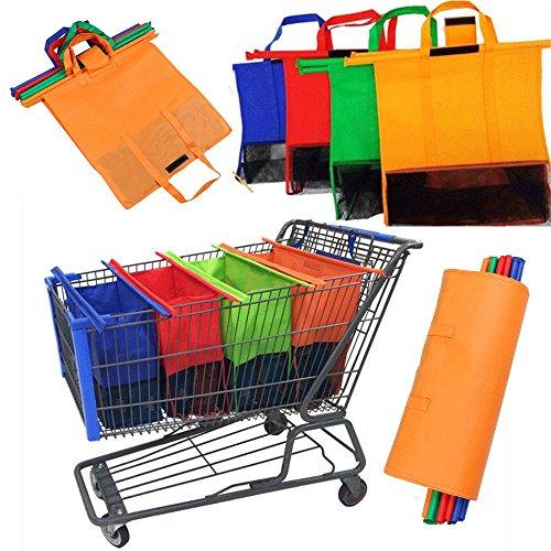Bolsa de la compra para 4 carros de la compra, apta para todo tipo de carros de la compra en azul, rojo, naranja y verde