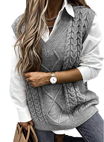 HOTAPEI Womens Oversized Sweater Vest V Neck Grey Sleeveless Sweaters for Women Cable Knit Solid Color Tops Loose Casual Soft Tunics X-Large