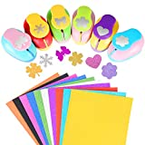 Echolife 6 Pieces Craft Hole Punches with 10 Glitter Cardstock Paper, Handmade Paper Punch Set Different Shapes for DIY Arts Crafting Scrapbooking Random Color