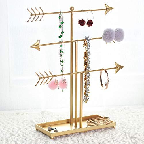GRIDYTOP - Organizador de Joyas de 3 Niveles, Soporte de exhibición de Joyas de Metal, Soporte Decorativo en Forma de T para Collares, Pendientes, Pulseras, Relojes, Oro