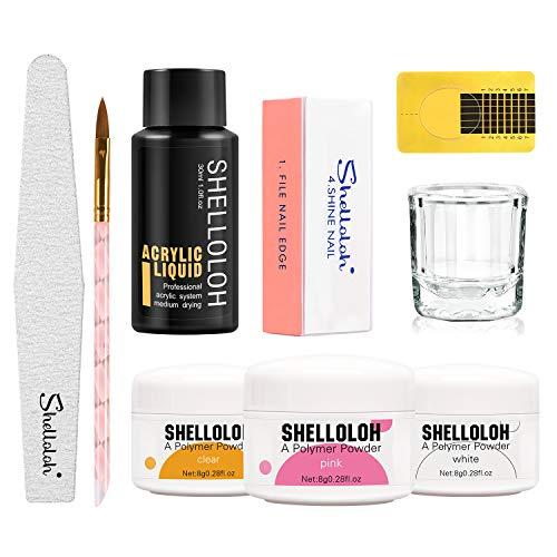 Shelloloh Acrílicas Manicura Kit para Decorar Uñas Herramienta Profesional Completa de Uña...
