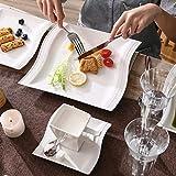 MALACASA, Serie Flora, 56 TLG. CremeWeiß Porzellan Geschirrset Kombiservice Tafelservice mit je 6 Schälen, 6 Tassen, 6 Untertassen, 12 Dessertteller, 12 Suppenteller, 12 Speiseteller und 2 Platte - 5