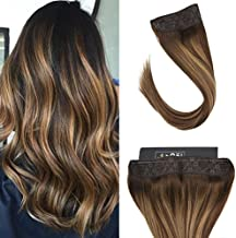 Sunny 20inch Remy Invisible Halo Hair Extensions Dark Brown Fading to Caramel Blonde Balayage Hidden Wire Extensions Human Hair 100g/pack