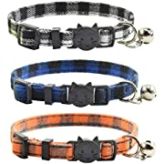 XPangle Breakaway Cat Collars with Bell, Set of 3, Durable & Safe Cute Kitten Collars Safety Adjustable Kitty Collar for Cat Puppy 7.5-11in