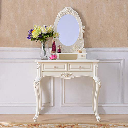 Witte dressoir tafel met spiegel en kruk,4 lades verstelbare wastafel tafel set, slaapkamer meubilair