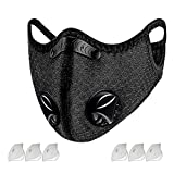 Dust Mask Sports Face Cover Mask with 6 Filters, Reusable Windproof Dustproof Breathable Cycling Quick Dry Respirators Activated Carbon Nylon Spandex Mask for Outdoor and Running, Working