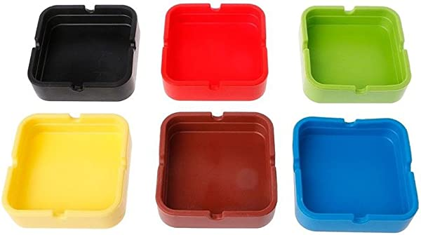 Magik 6 Pcs Ashtray Silicone Cigarette Smoking Bedroom Smoke Bin Cigarette Pipe Holder Square