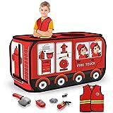 TEMI Feuerwehrauto-Zelt – Faltbares Pop-Up-Spielzelt | Spielhaus für Kinder drinnen und draußen | inklusive Rollenspiel-Kostüm und Feuerwehrwerkzeuge (111,8 x 66 cm)