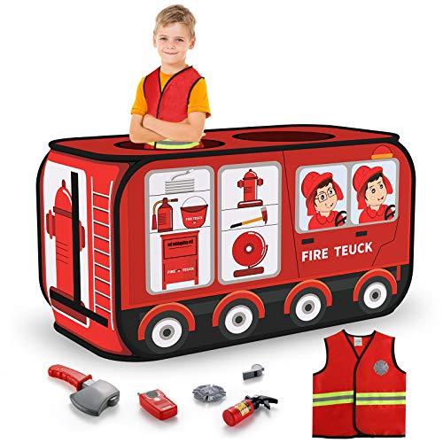 TEMI Fire Truck Tent - Foldable Pop Up Pretend Play Tent | Playhouse for Kids Outdoor Indoor | Included Role Play Firefighter Costume and Fire Tools (44*26in)