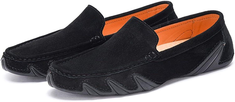 Men's Driving Moccasins Genuine Leather Soft Rubber Sole Boat Loafers (color   Black, Size   6 UK)