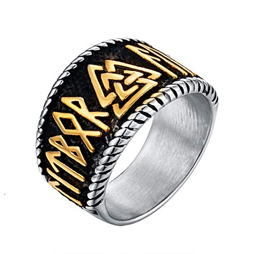 Valily Valknut Odin Ring for Men Gold Stainless Steel Amulet Norse Viking Rune Ring Size O
