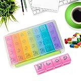HELLOO HOME Pilulier Semainier,Pilulier 7 Jours 28 Compartiments Multicolores Amovible Étanche,pour Tenir des vitamines, des suppléments et des médicaments