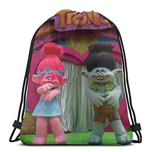 Tr-olls - Mochila de gimnasio con cordón, mochila escolar, de polietileno, para natación, de viaje, para niños, niñas, hombres y mujeres