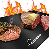 Aoocan Grill mat Set of 3, Heavy Duty 600 Degree Non Stick Grill mats for Under Outdoor Grill, BBQ mat, Reusable, Easy to Clean - Works on Gas Charcoal Electric - Cut to Any Size - 23x16 in, Black