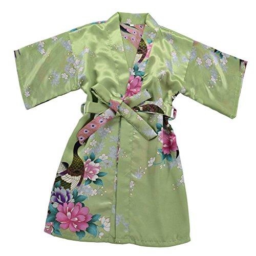 JOYTTON Girls' Satin Kimono Robe for Spa Party Wedding Birthday (4,Fuchsia)