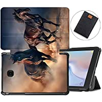 MAITTAO Case Fit Samsung Galaxy Tab A 8.0 2018 Model SM-T387 Verizon/Sprint/T-Mobile/AT&T, Slim Folio Cover Stand Case for Galaxy Tab A 8.0 Inch Tablet Sleeve Bag 2 in 1 Bundle, Akhal-Teke Horse 19