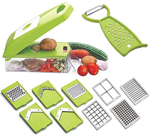 HAPYSA Multi-Purpose Chopper, 12 in 1 Vegetable and Fruit Chopper, Food Slicer Dicer Grater Chipser Cutter Peeler with Large Container For Salad Potato Veggie Vegetable Fruit In All Kitchen Use(Green)