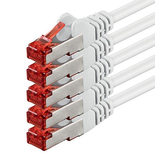 1aTTack 89350 1m CAT6 Netzwerkkabel CAT.6 Patchkabel Ethernetkabel SFTP PIMF 1000 Mbit s 5 Stück weiß