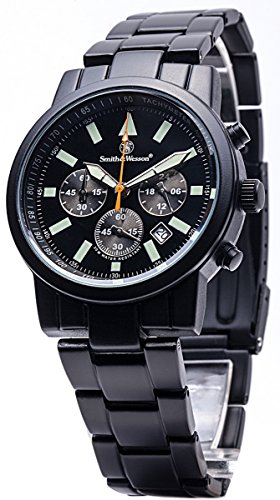 Smith & Wesson Men's Pilot Watch, 3ATM, Black Multi Function Chronograph, Glowing Hands, Metal Strap, 39mm