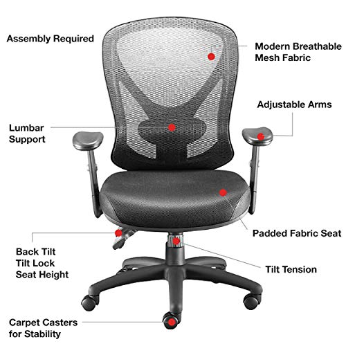 STAPLES Carder Mesh Office Chair (Black, Sold as 1 Each) - Adjustable Office Chair with Breathable Mesh Material, Provides Lumbar, Arm and Head Support, Perfect Desk Chair for The Modern Office
