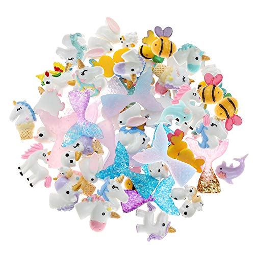 FANTESI 60 Piezas Resin Charms, Resina Mixta Adorno de Limo Cuentas de Unicornio y Mermaid Tail para Manualidades DIY