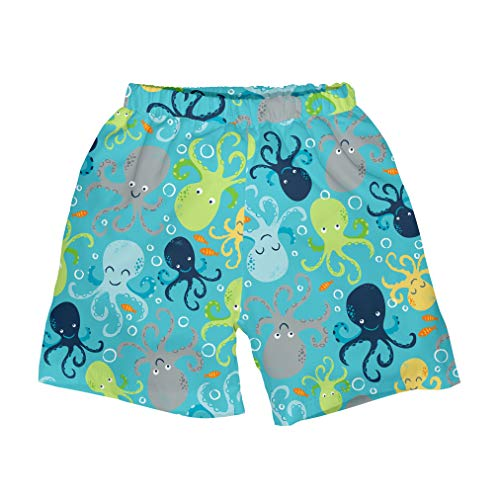 i play. by green sprouts Boys' Baby Trunks with Built-in Reusable Swim Diaper, Aqua Octopus, 12mo