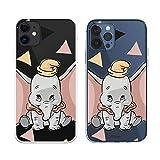 Funda para iPhone 12 - iPhone 12 Pro Oficial de Dumbo Dumbo Silueta Transparente para Proteger tu móvil. Carcasa para Apple de Silicona Flexible con Licencia Oficial de Disney.