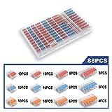Palanca Nuts-3 Conectores de Empalme Compacto Desconexión rápida Conectores de Cable AWG 24-12 (Color : 221 Colorful 88PCS, Package : Plastic Box Set)