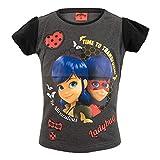 Miraculous Ladybug Tee Shirt Fille Manches Courtes - Gris - 6 Ans