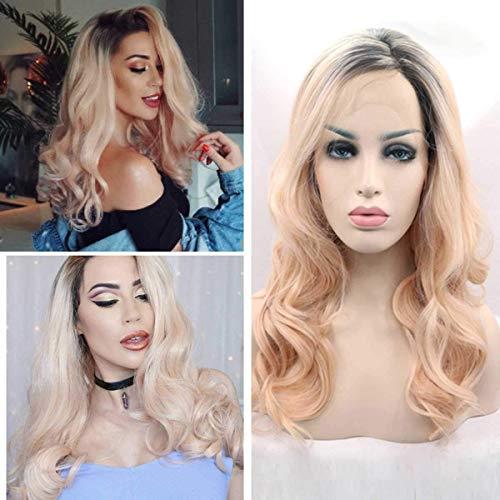 CHUTD Womens Fancy Jurk Kant Voor Pruiken Haarstukken, Licht Roze Mode Natuurlijke Volledige Lange Krullend Pruik voor Cosplay Party Pruiken