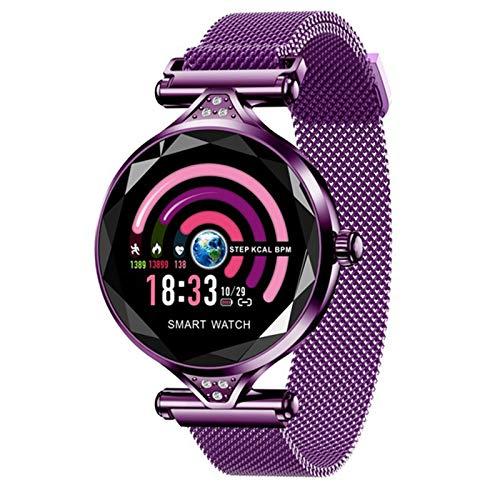 ZYDZ Ladies Fashion H1 Smart Watch Ladies Diamond Bluetooth Impermeable Tasa del Corazón Monitor Monitor Fitness Tracker Smartwatch Pulsera Portátil para Android iOS,A